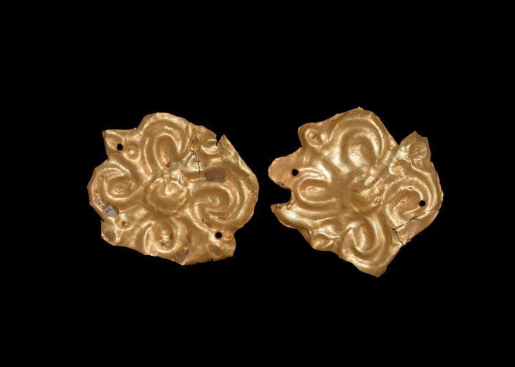 Greek Gold Repousse Plaque Pair