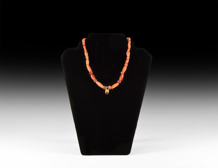 Parthian Carnelian Necklace with Gold & Garnet