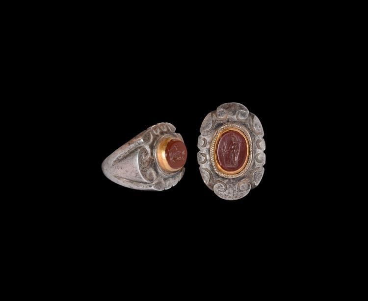 Roman Silver Ring with Fortuna Intaglio
