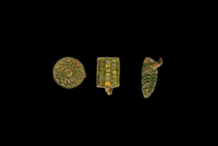 Roman Enamelled Brooch and Seal Box Group