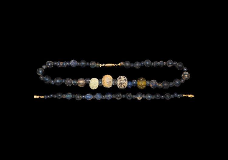 Roman Blue Glass Bead Necklace and Bracelet Set