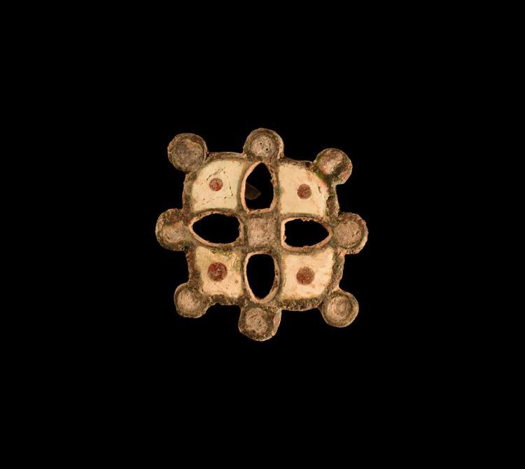 Roman Enamelled Cross Brooch