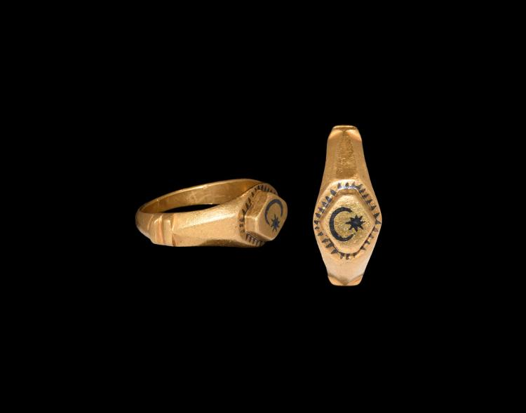 Roman Gold Ring with Moon and Star