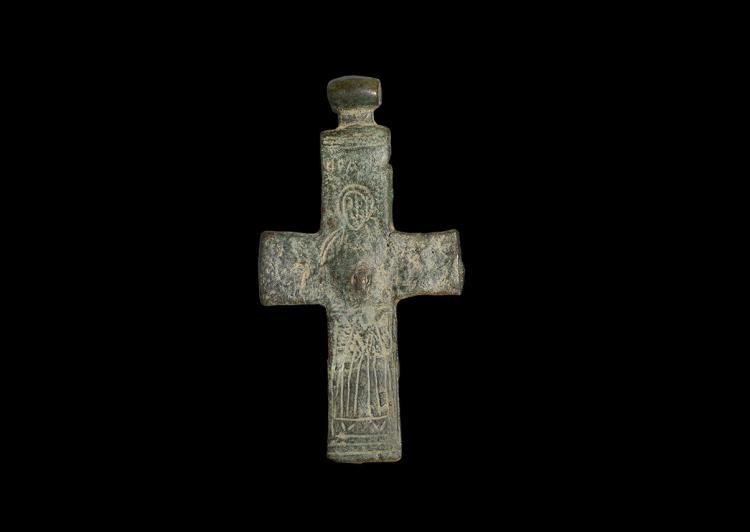 Byzantine Cross Pendant with Nimbate Figure