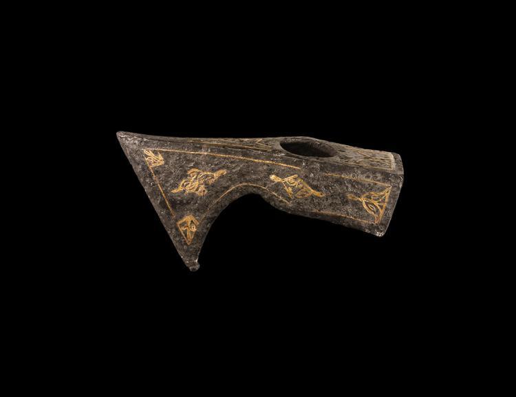 Mughal Latten-Inlaid Ceremonial Axehead