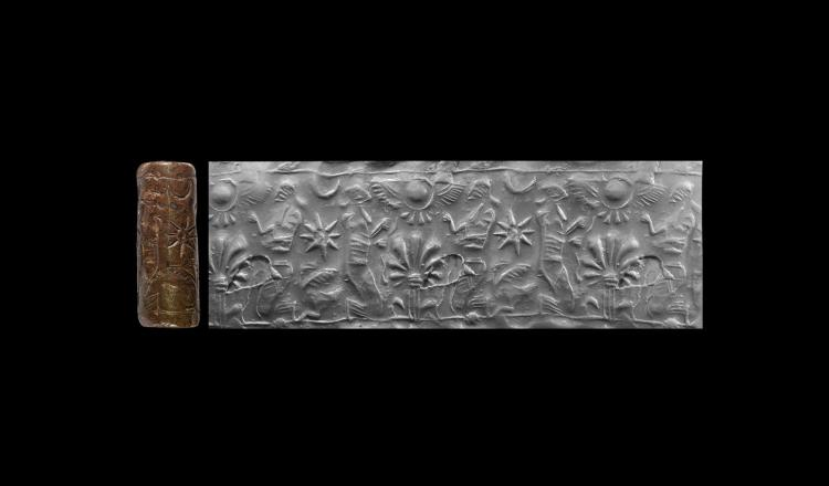 Neo-Assyrian Cylinder Seal with Worship Scene