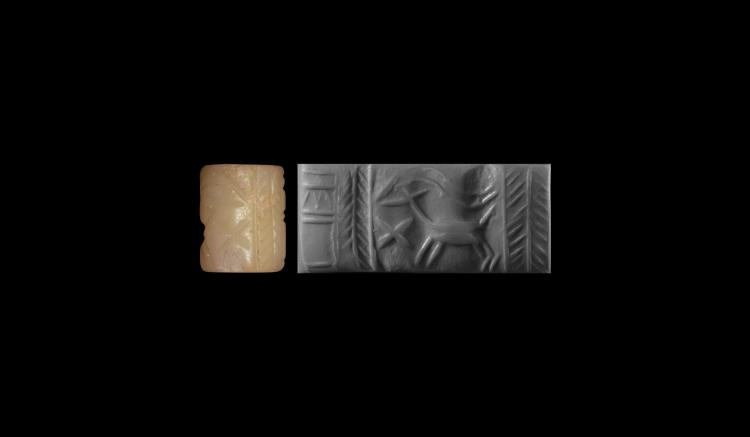 Mesopotamian Seal with Animal and Temple