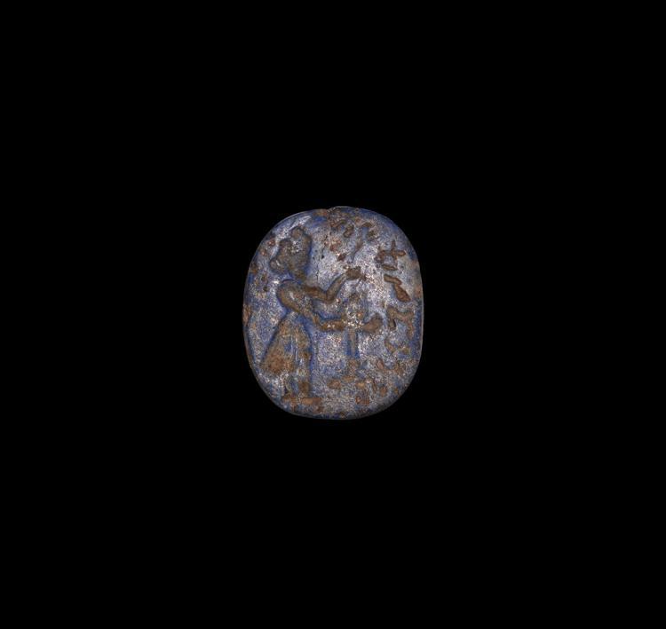 Sassanian Lapis Lazuli Stamp Seal with Priest