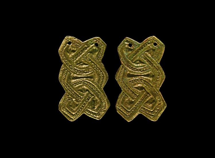 Viking Interlaced Plate Brooch Pair
