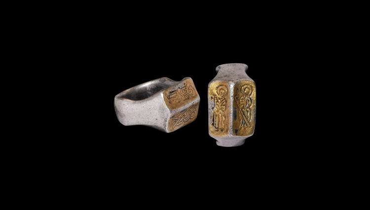 Medieval Gilt Silver Ring with Saints