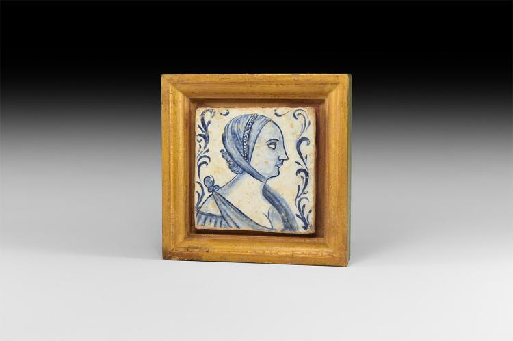 Post Medieval Glazed Tile Renaissance Portrait