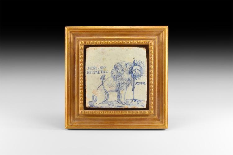 Post Medieval Glazed Alchemist's Tile