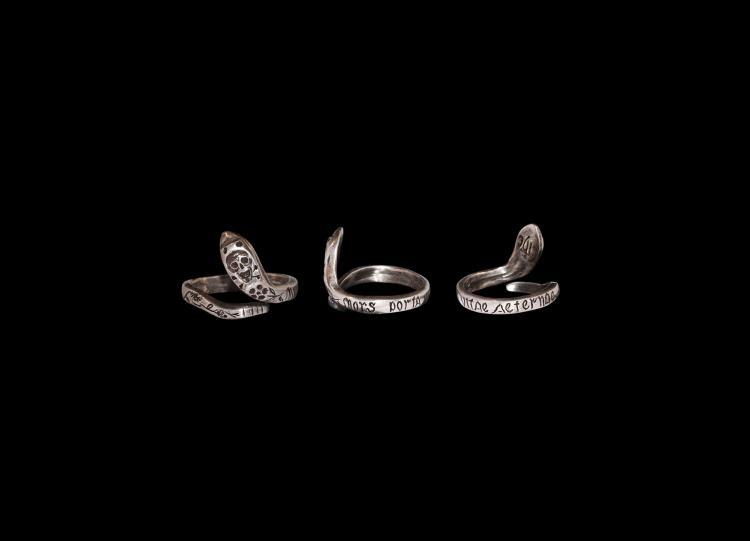 Jacobean Memento Mori Skull-Headed Snake Ring