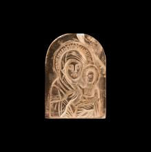 Post Medieval Crystal Icon with Mother and Child
