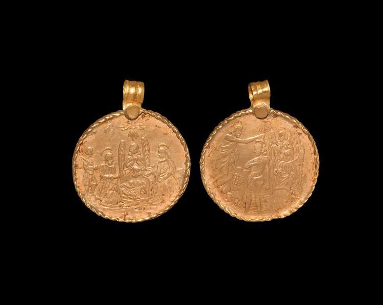 Post Medieval Bifacial Gold Pendant with Saints