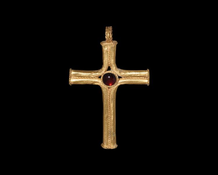 Post Medieval Gold Cross Pendant with Garnet