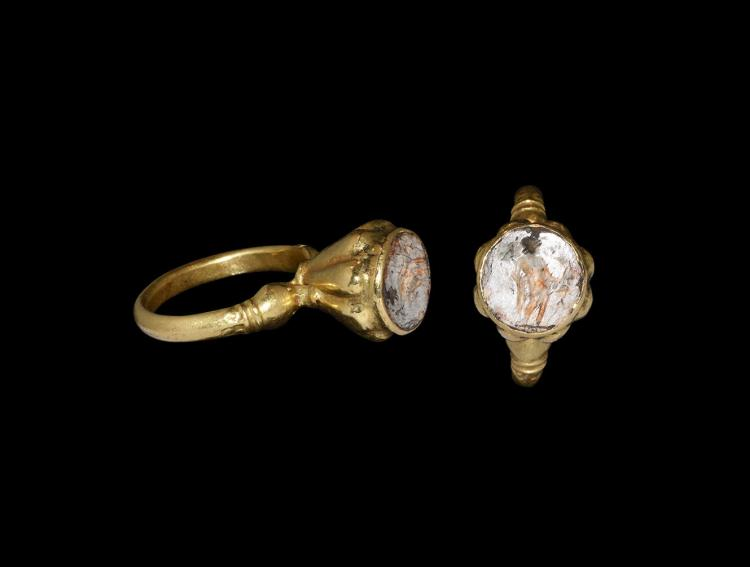 Post Medieval Gold Ring with Dove Intaglio
