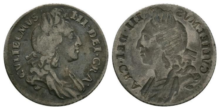 William III - Obverse Brockage Sixpence