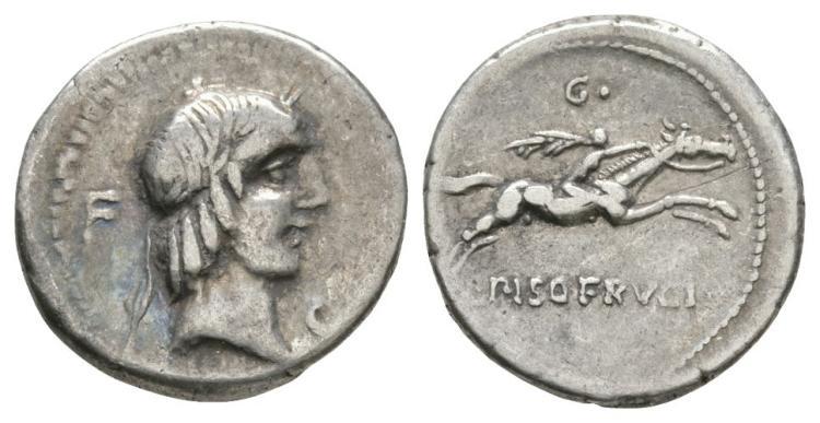 L Calpurnius Piso - Naked Horseman Denarius