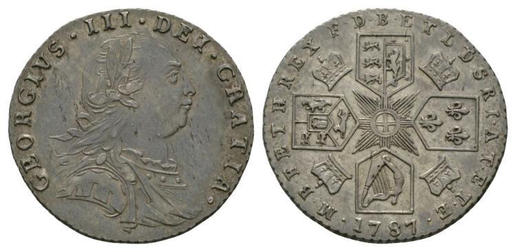 George III - 1787 - No Hearts Sixpence
