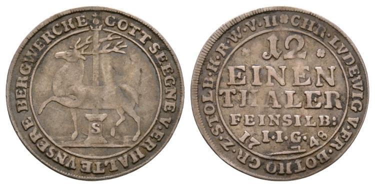 German States - Stolberg - 1748 - 1/12 Thaler
