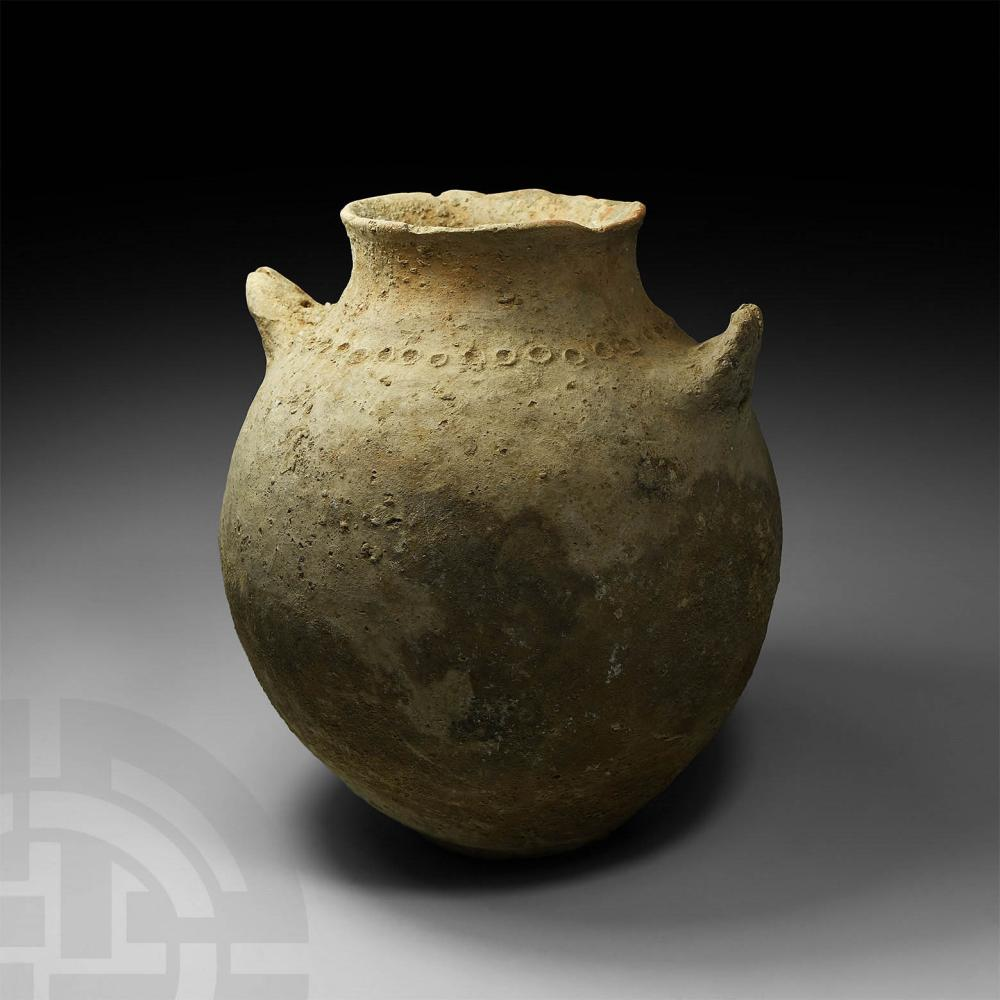 Large Bronze Age Storage Jar with Pie Crust Handles