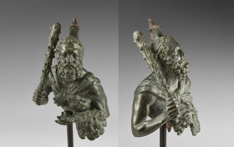 Roman Bust of Hercules Holding Apples of Hesperides