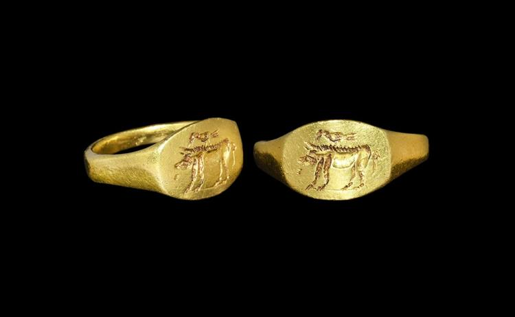 Roman Gold Signet Ring with Bird and Boar