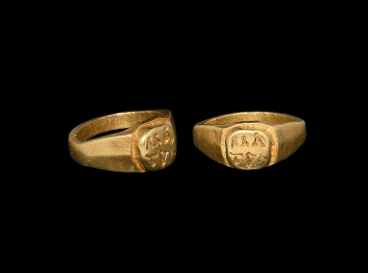 Roman Gold Military Seal Ring with MA TRA