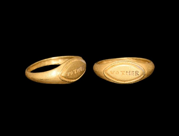 Roman Gold Ring with VOT HER