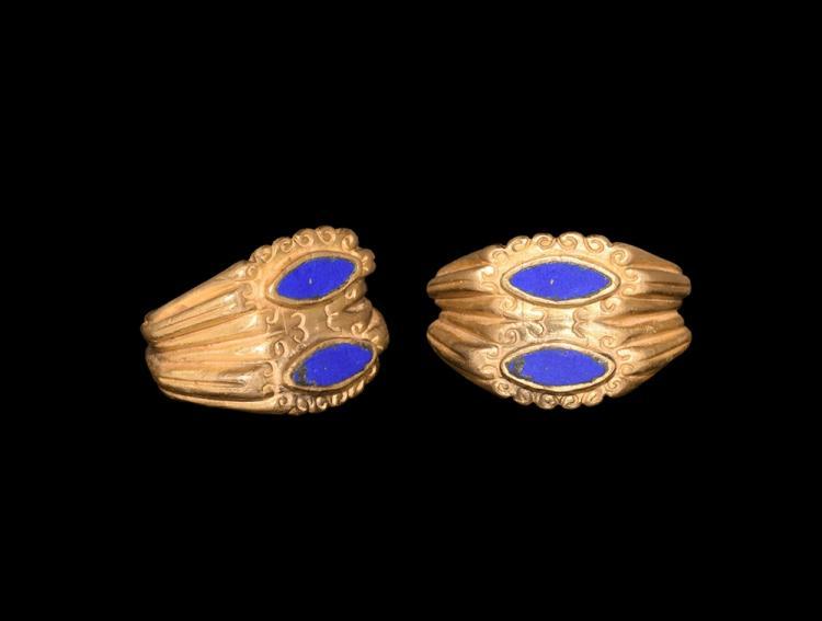 Roman Gold Double Bezel Ring
