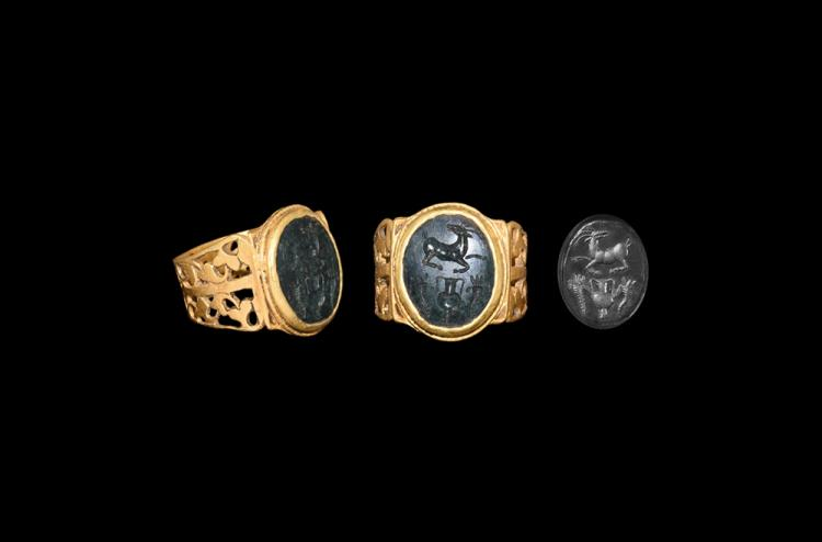 Roman Gold Intaglio Ring with Antelope and Cornucopiae