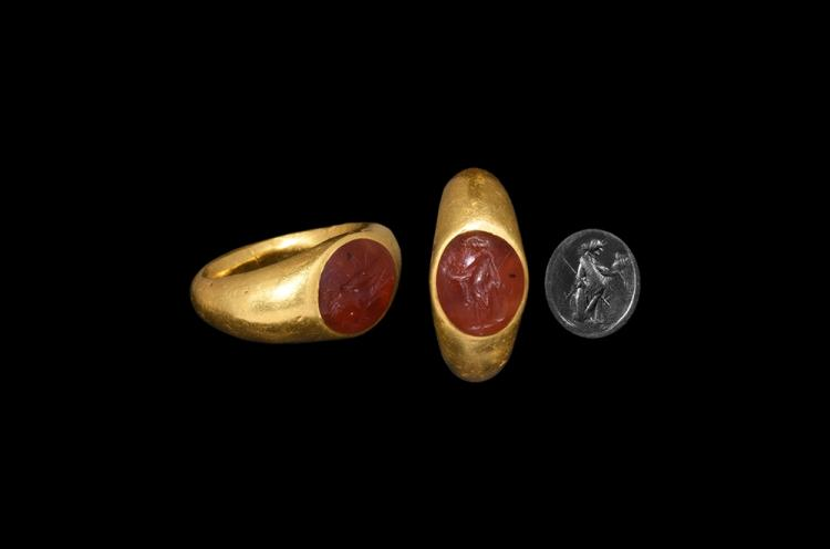 Roman Gold Ring with Figural Intaglio