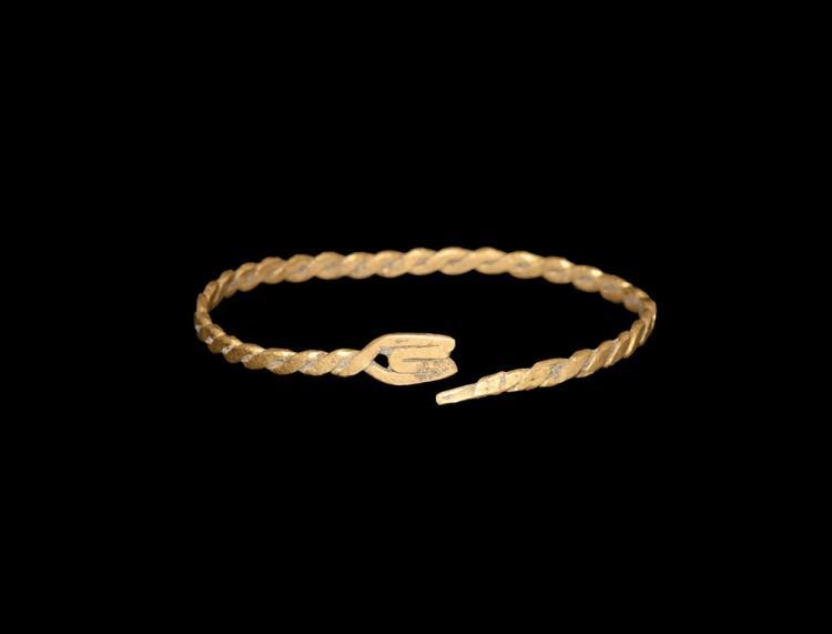 Roman Gold Twisted Snake Bracelet