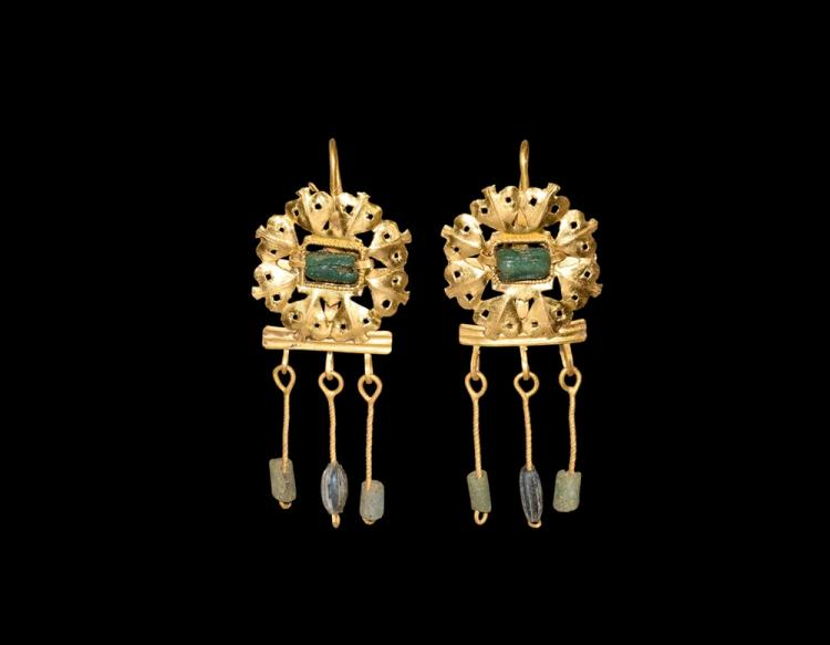 Roman Gold Fretwork Earring with Emeralds