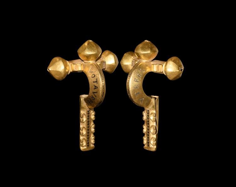 Roman Gold Inscribed Crossbow Brooch