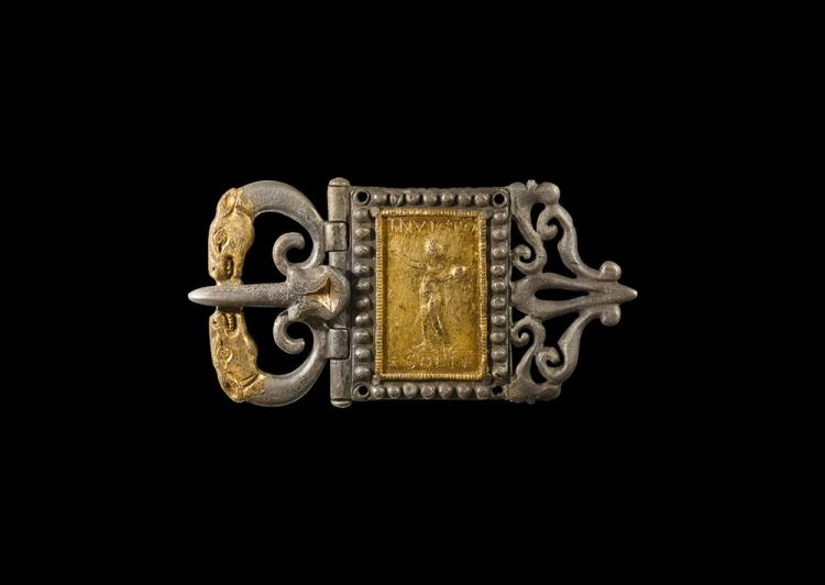 Roman Gilt Sol Invictus Buckle with Beast Heads