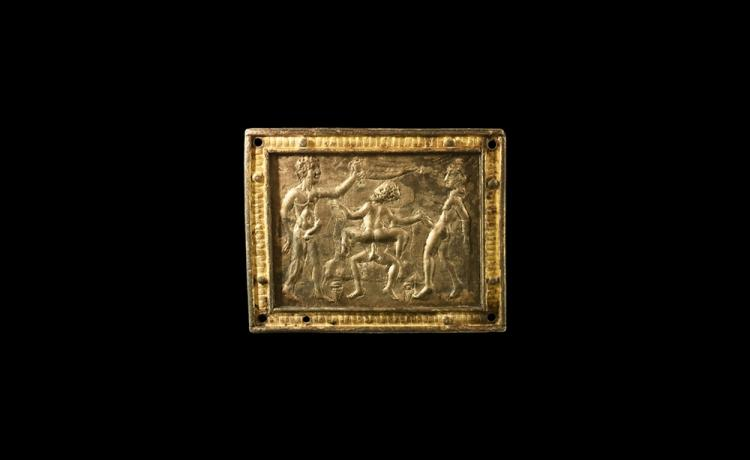 Roman Gilt Erotic Figural Plaque