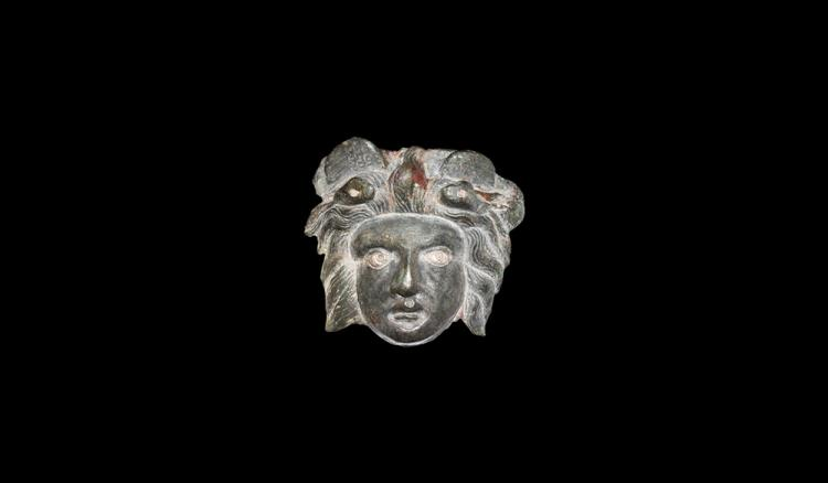 Roman Gorgoneion Mask with Silver Inlays