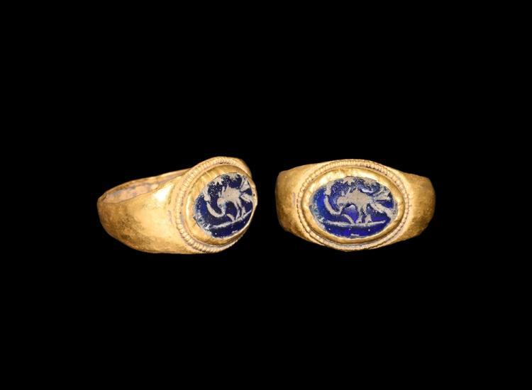 Roman Gold Ring with Bird Intaglio