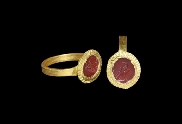 Roman Gold Ring with Eagle Intaglio