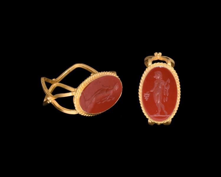 Roman Dionysus Intaglio in Gold Ring