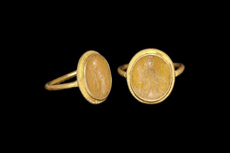 Roman Gold Ring with Fortuna Intaglio