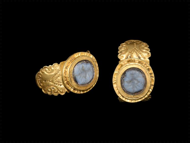 Roman Gold Ring with Mercury Intaglio