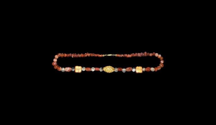 Roman or Parthian Gold, Crystal and Carnelian Bead Necklace