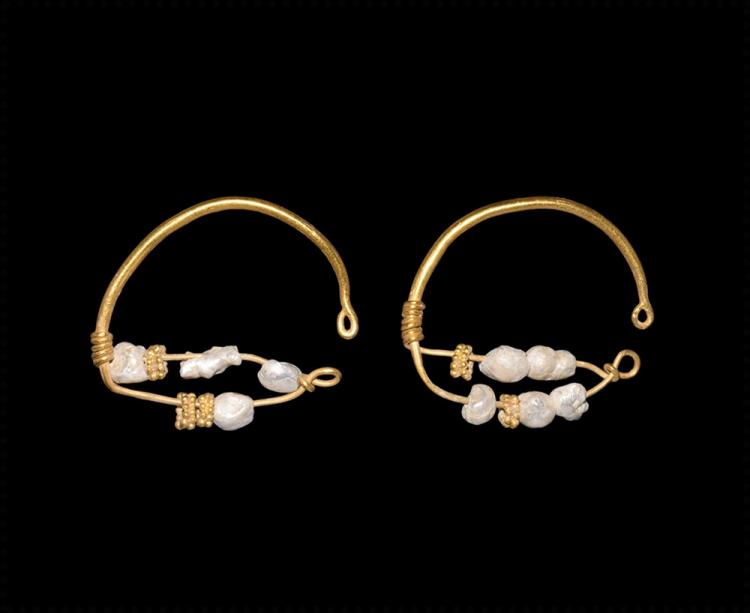 Roman Gold and Pearl Earrings