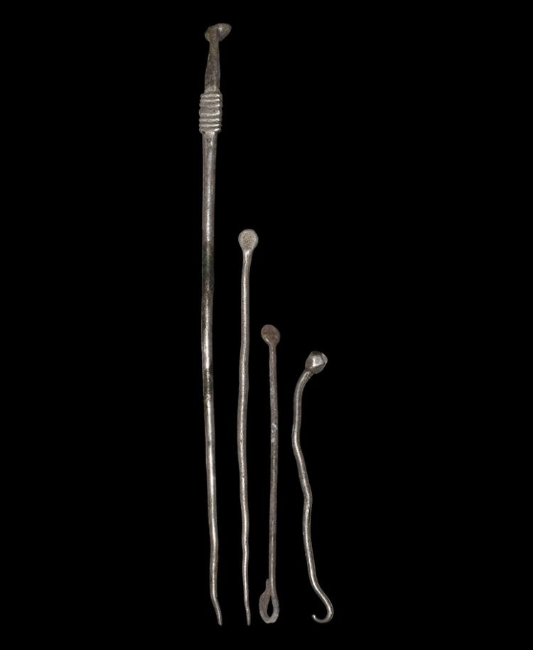 Roman Pin and Apothecary Spoon Group