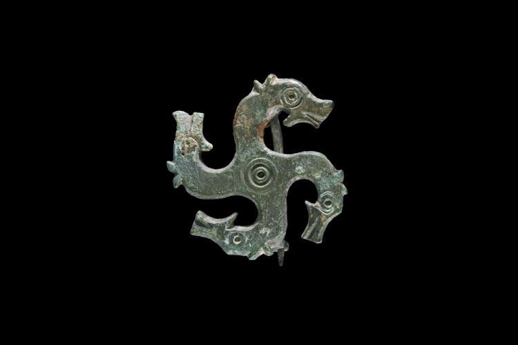 Roman Horse Heads Plate Brooch