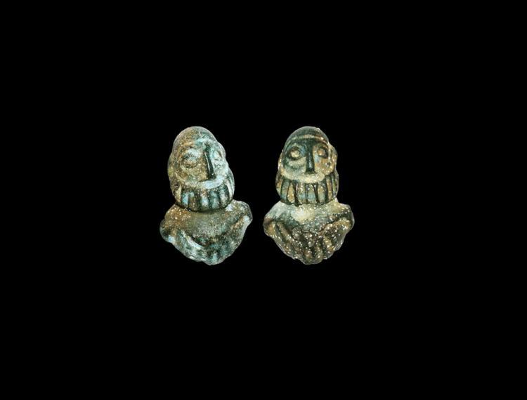 Roman Figural Silenus Stud Pair