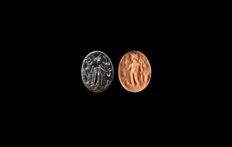 Roman Intaglio with Mercury and Animals